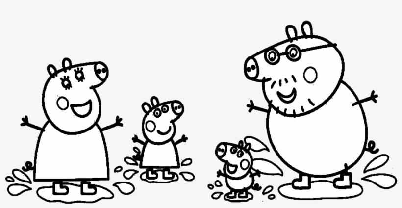 Jogo Colorir Peppa Pig Nas Poças De Lama No Jogos - Peppa Pig Colouring Pages To Print, transparent png #5259365