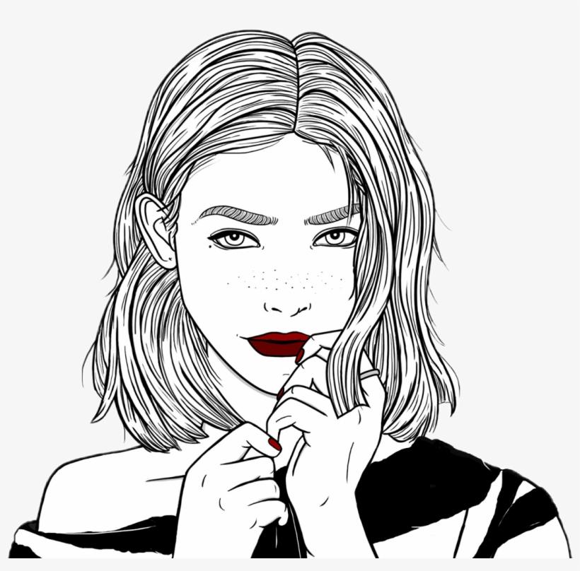 Outlines Chica Tumblr Linda Dibujo Negro Cute Blanco Todo Lo Que
