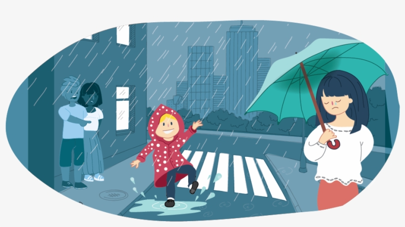 Happy Girl Playing In The Rain With Sad Girl On The - Kids Helpline, transparent png #5297085