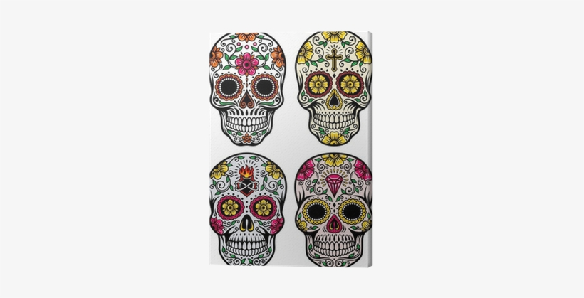 Day Of The Dead Skull Vector Set Canvas Print • Pixers® - Day Of The Dead Skull Designs, transparent png #533020