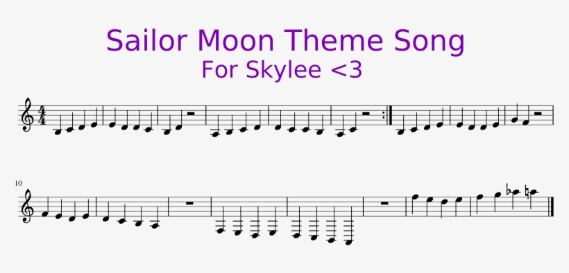 Sailor Moon Theme Song For Skylee <3 Sheet Music 1 - Sailor Moon Piano Easy, transparent png #536262