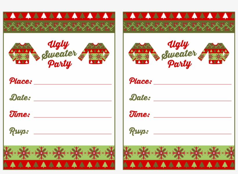 Free Printable Ugly Christmas Sweater Party Invitations Ugly