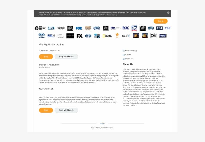 Blue Sky Studios Inquires - 21st Century Fox, transparent png #5300226