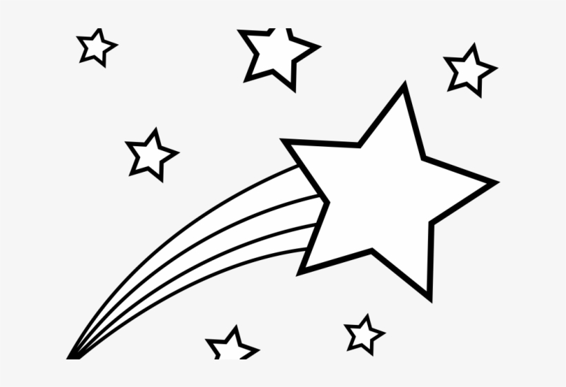 Drawn Star Volcom - Shooting Star Star Clipart Black And White, transparent png #5335350