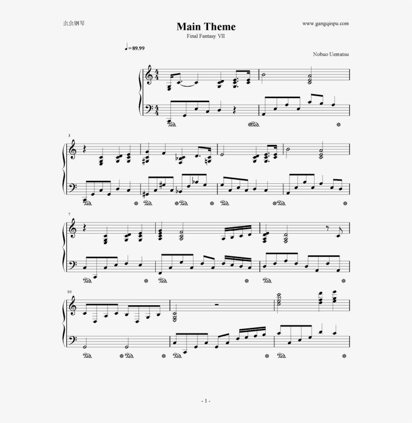 Main Theme钢琴谱第1页 - Final Fantasy Vii, transparent png #5340702
