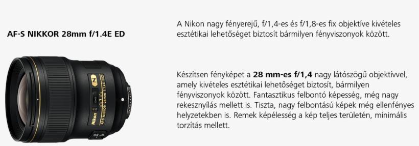 28mm - Nikon Af-s Nikkor 28mm F/1.4e Ed Lens, transparent png #5363523