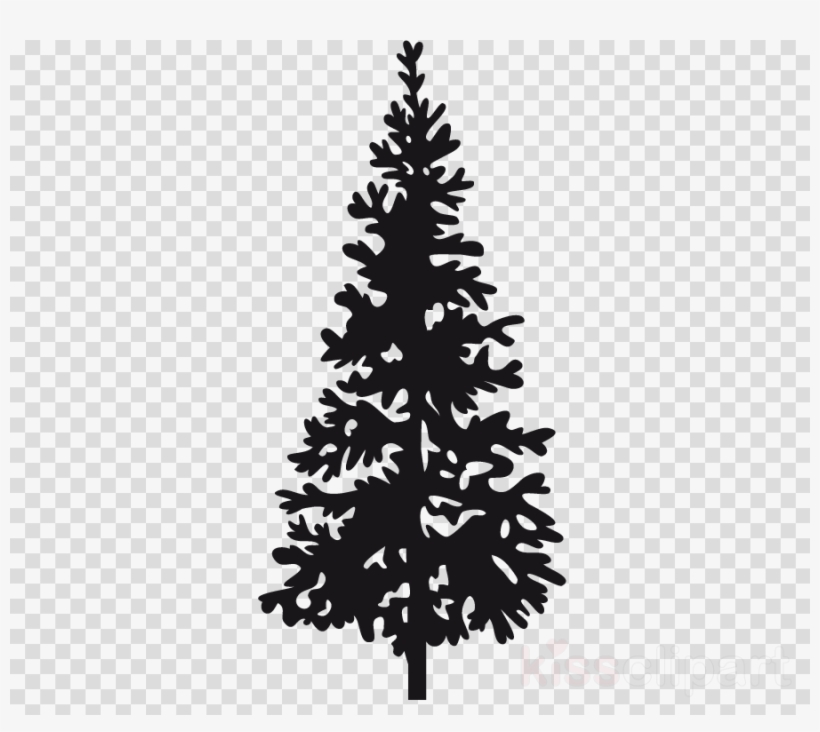 Christmas Tree Silhouette Clipart Fir Pine Christmas - Wall Stickers Tree Pine, transparent png #5386699