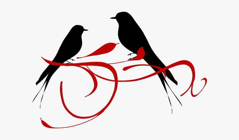Love Birds Red Clip Art - Red Love Birds Clipart, transparent png #541019