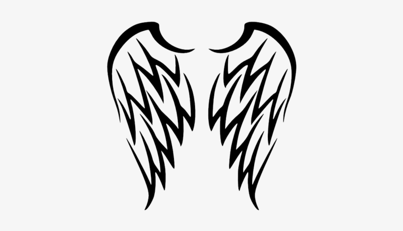 Wing Tattoo Simple - Tribal Angel Wings Tattoo, transparent png #542781
