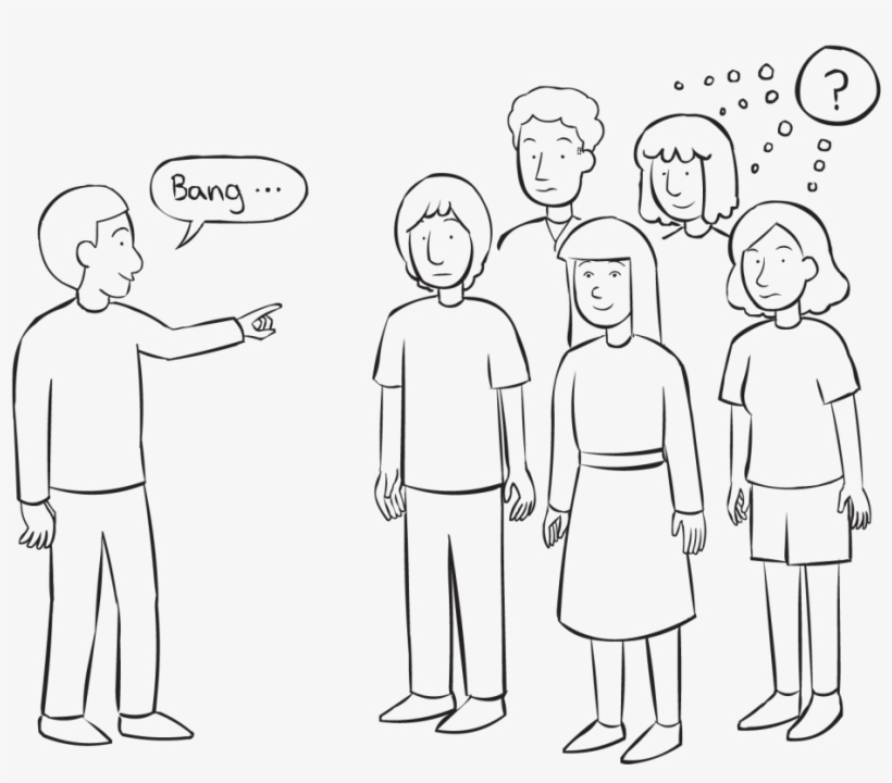 Back One Person Pointing To A Group Of People Playing - Thinking People Group Png, transparent png #547731