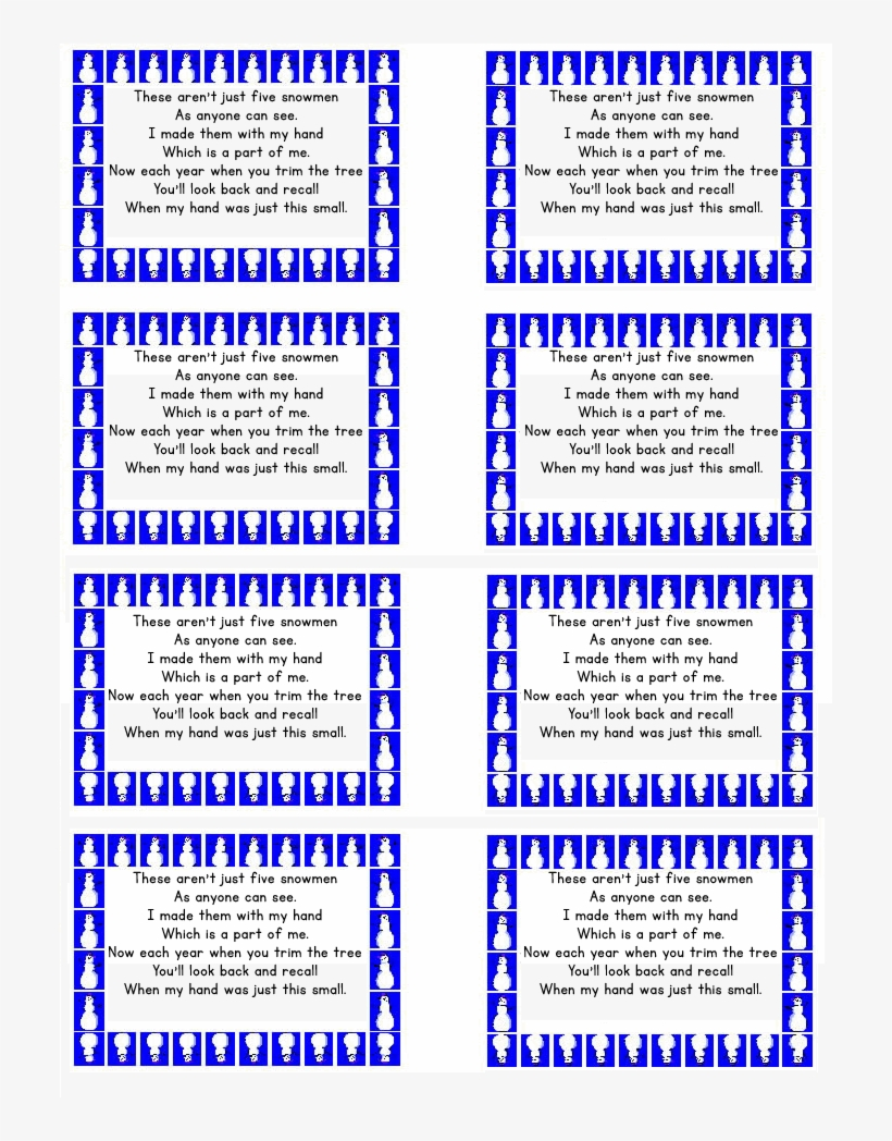 picture relating to Handprint Poem Printable named Snowman Poem Present Tags absolutely free Printable - Snowman Handprint