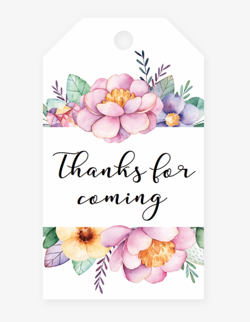 Pink Floral Tag Printable By Littlesizzle - Watercolor Flower Frame, transparent png #548607