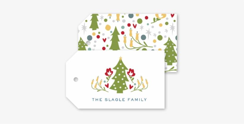 Folk Christmas Tree Gift Tags - Christmas Tree Gift Tags, transparent png #549438