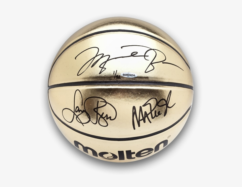 Michael Jordan, Magic Johnson, & Larry Bird Signed - Michael Jordan Signed Gold Basketball, transparent png #5412285