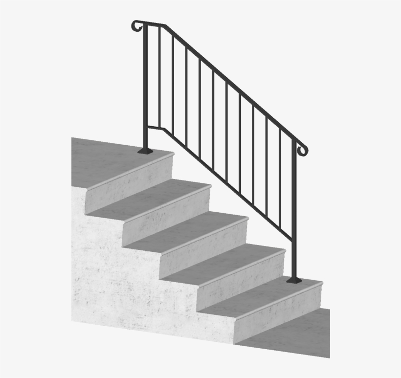 Picket-4 4 Foot Post To Post Spans 4 Stair Risers - Iron X Handrail Picket #2 Railing Rail Fits 2 Or 3, transparent png #5420090