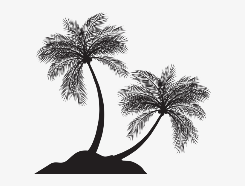 Palm Trees Silhouette Png - Palm Tree Silhouette Clip Art Png, transparent png #5456942