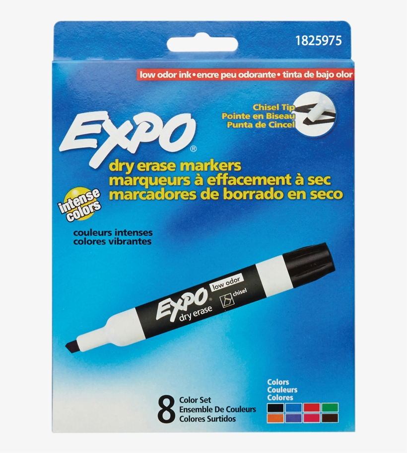 Expo® Low Odour Dry Erase Markers Chisel Tip Assorted - Expo Low Odor Markers, transparent png #5466132