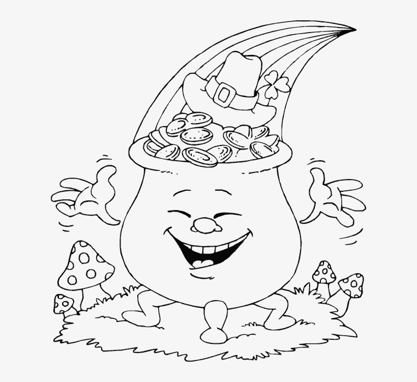 Smiling Pot Of Gold - Hat St Patrick's Day Coloring Pages, transparent png #5476042