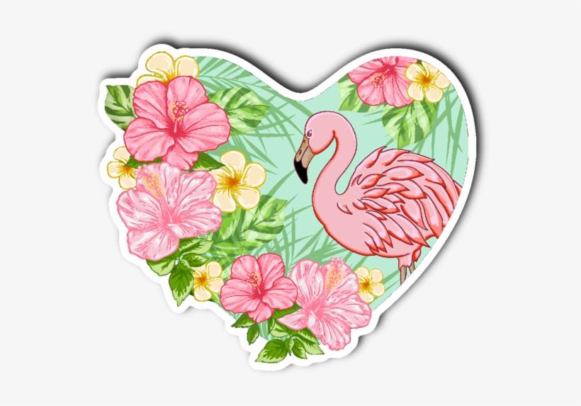 Flamingo And Flowers Vinyl Die Cut Sticker - Tropical Flowers Tropical Flamingo, transparent png #5478186