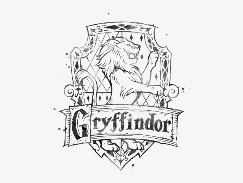 Kids T Shirt For Sale By Monn - Harry Potter Gryffindor Black And White, transparent png #5482156