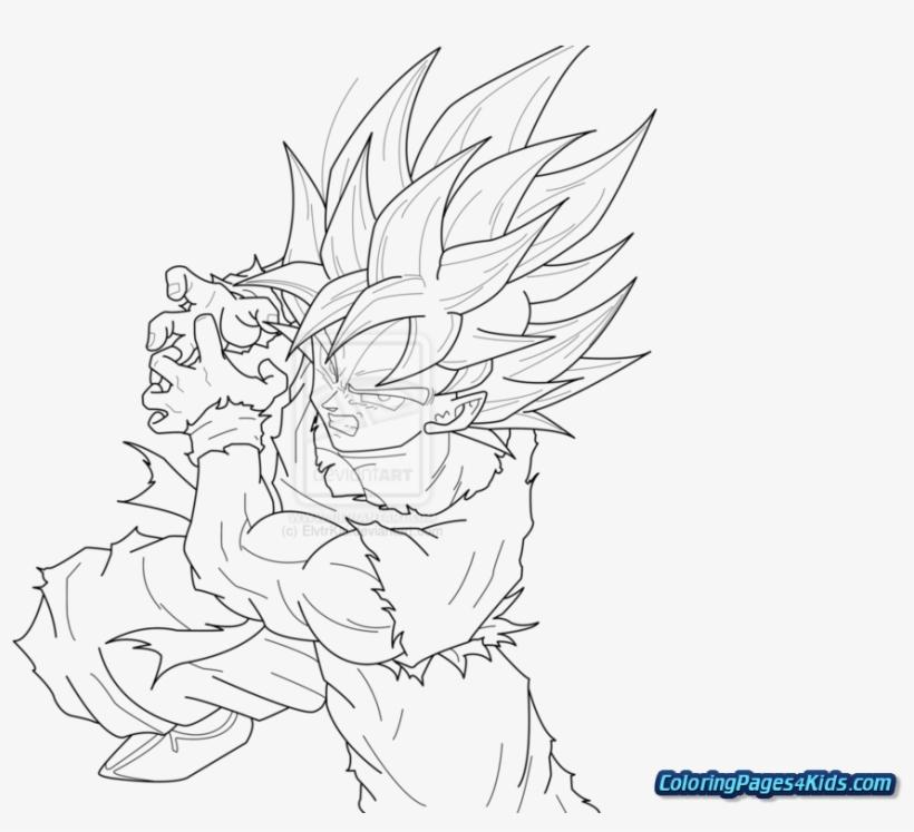 King Kong Vs Godzilla Coloring Pages - Super Saiyan Goku Dragon Ball Z, transparent png #5485226
