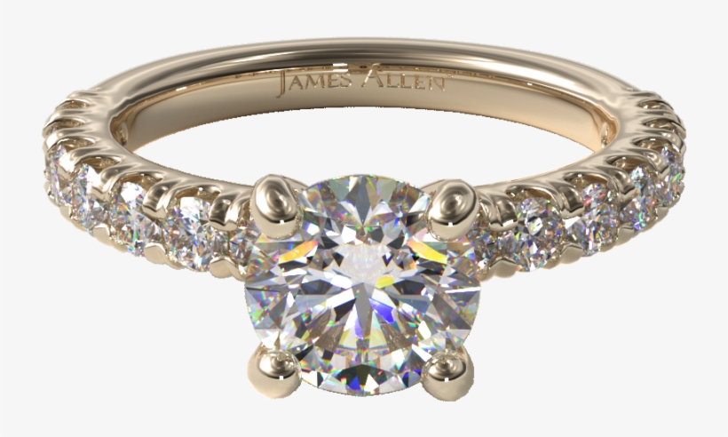 Pave Engagement Ring In Yellow Gold - Three Stone Engagement Ring In Yellow Gold - Setting, transparent png #5495619