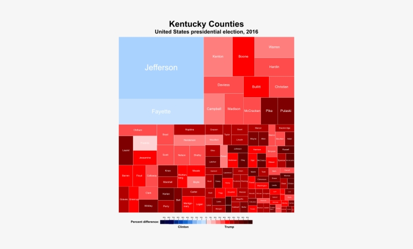 Treemap Of The Popular Vote By County - 2016 Presidential Election Kentucky, transparent png #550077