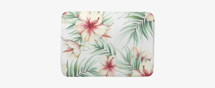 Seamless Pattern With Tropical Flowers And Leaves - Illustration, transparent png #551999