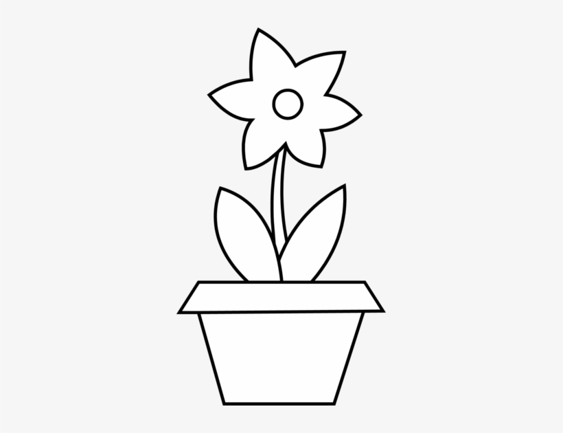 Flower - Outline - Clipart - Flower Clip Art In Pot, transparent png #553055