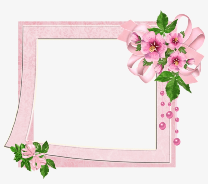 Cute Pink Transparent Photo Frame With Flowers Outline - Cute Photo Frame Png, transparent png #553297