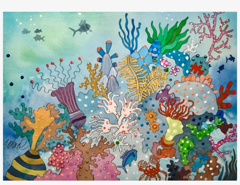 Jpg Black And White Library Reef Drawing Watercolor - Watercolor Painting, transparent png #553681