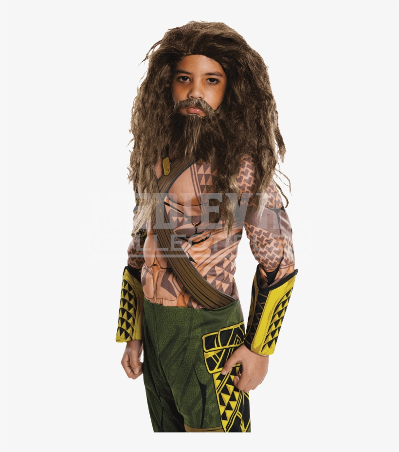 Kids Dawn Of Justice Aquaman Wig And Beard Set - Aqua Man Costume Kids, transparent png #555403