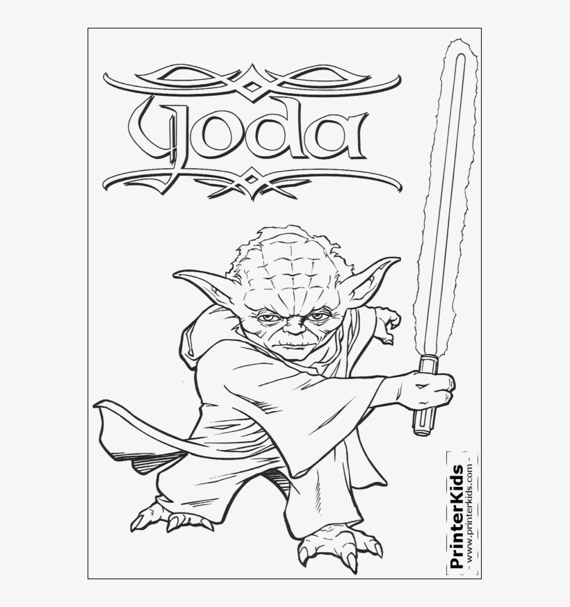 Luke Skywalker On Dagobah Coloring Page - Yoda With Lightsaber Coloring Pages, transparent png #557158
