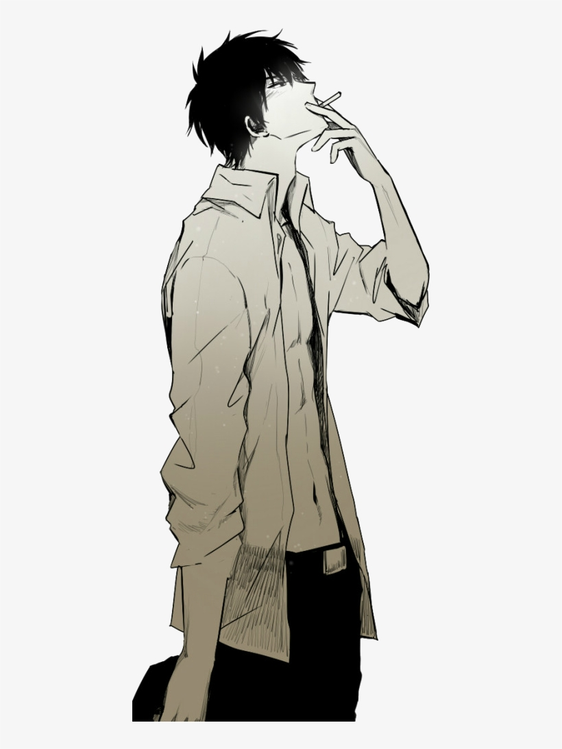 Drawn smoking transparent background anime guy smoke free