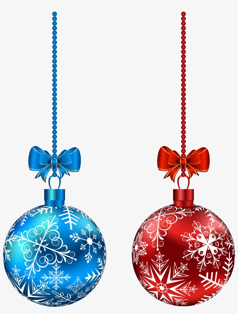 Blue And Red Hanging Christmas Balls Png Clip Art Imageu200b - Red And Blue Christmas Ornaments, transparent png #558212