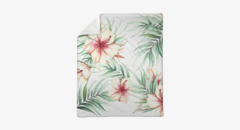 Seamless Pattern With Tropical Flowers And Leaves - Illustration, transparent png #558537