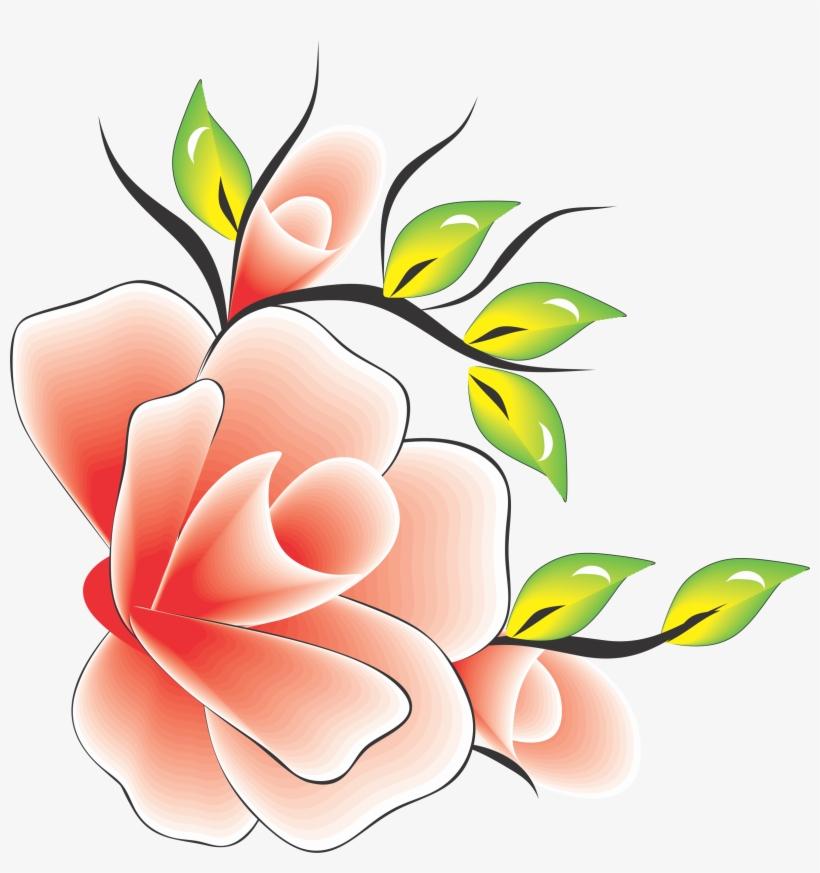 Flor Rosa Com Amarelo Verde Para Adesivo Artesanal Flower