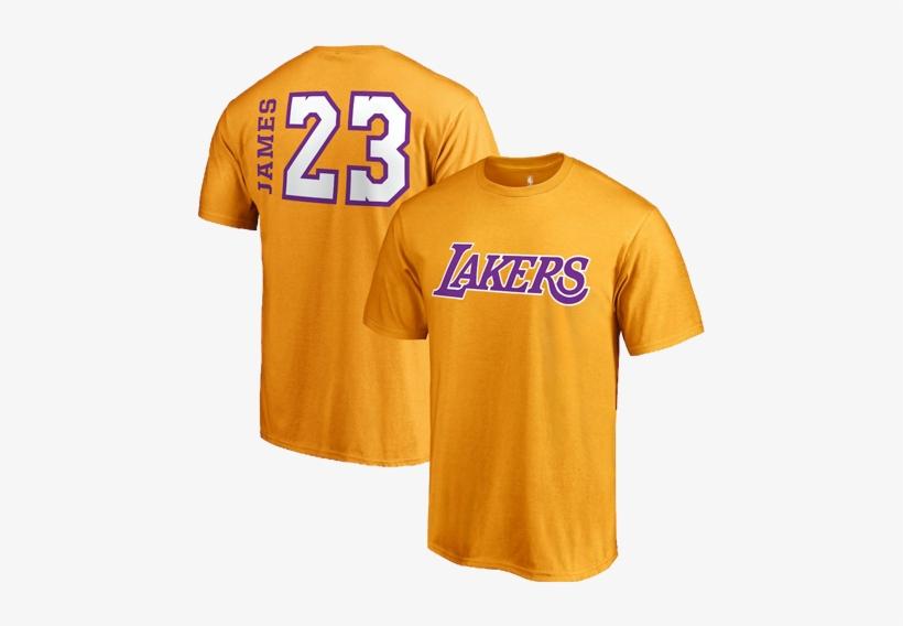 Los Angeles Lakers Lebron James Side Sweep Player T-shirt - Lebron James Lakers Shirt, transparent png #5581010