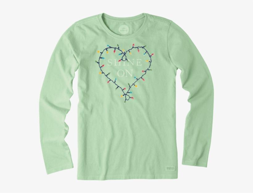 Women's Shine On Lights Long Sleeve Crusher Tee - Long-sleeved T-shirt, transparent png #5583257