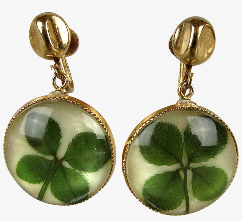 These Vintage Coro Earrings Carry A Lot Of Good Luck - Four-leaf Clover, transparent png #5583398