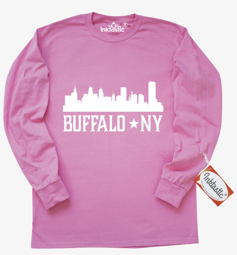 Buffalo New York Long Sleeve T-shirt Has City Skyline - Inktastic 100th Birthday Party Candles Long Sleeve, transparent png #560032