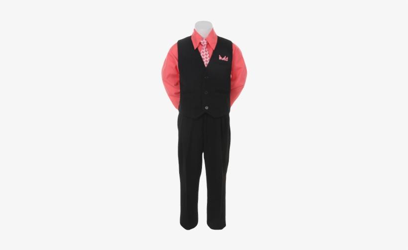 Boys Pinstripe Vest Suit With Fuchsia Shirt And Tie - Suit, transparent png #562135