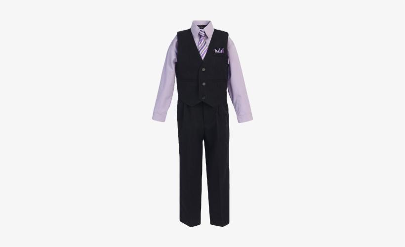 Boys Pinstripe Vest Suit With Lilac Shirt And Tie - Bello Giovane Lilac Pinstrip 4 Pieces Vest Suit Set, transparent png #562616