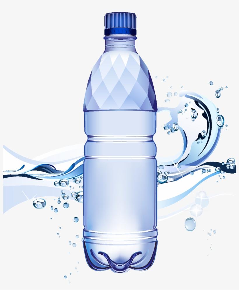 Cartoon Waterdrop Mineral Water Element - Water Bottle Splash Background, transparent png #562880