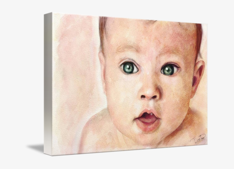 Baby Rage Png - Watercolour Portrait Painting Baby, transparent png #563926