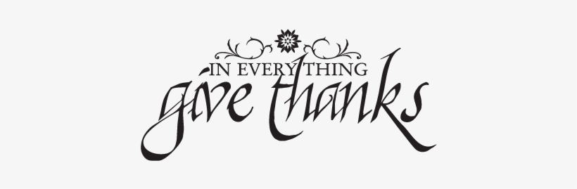 Give Thanks Calligraphy Wall Quotes - Wall Decal, transparent png #564786