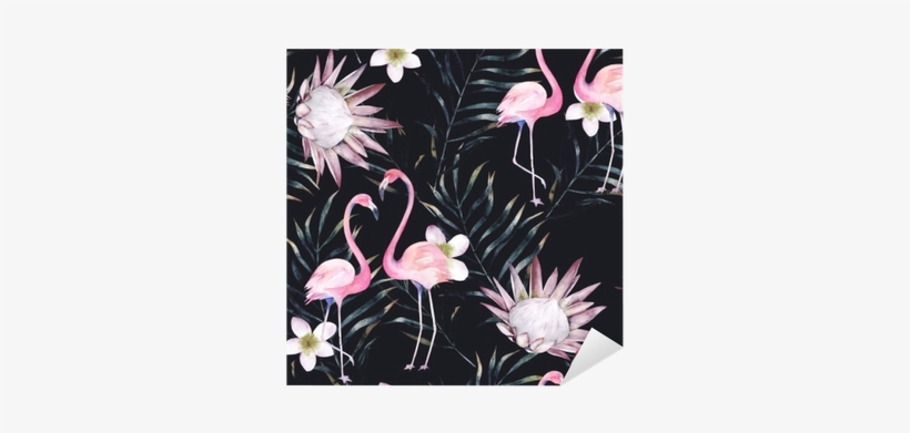 Watercolor African Protea, Flamingo And Tropical Leaves - Watercolor Painting, transparent png #568734