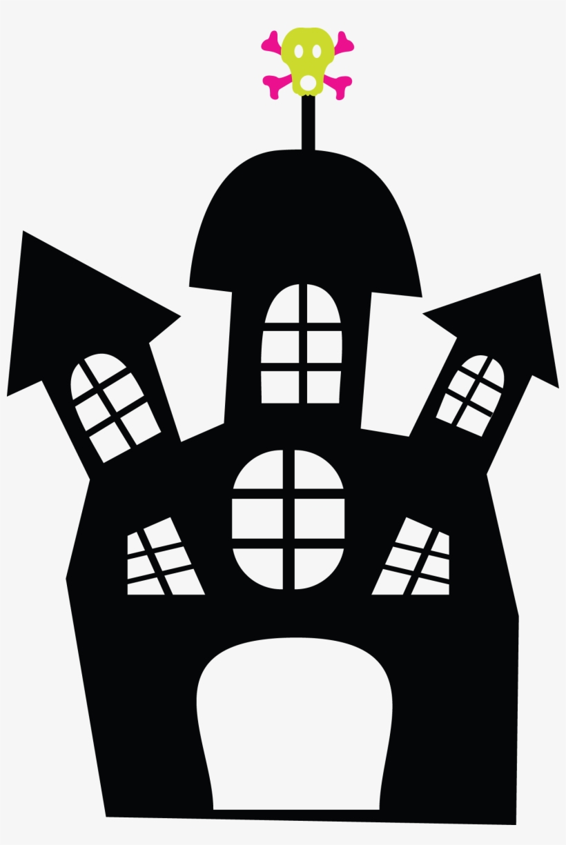 Halloween - Hauntedhouse - Minus - Clip Art - Halloween Haunted House Cliparts Black And White, transparent png #5608898