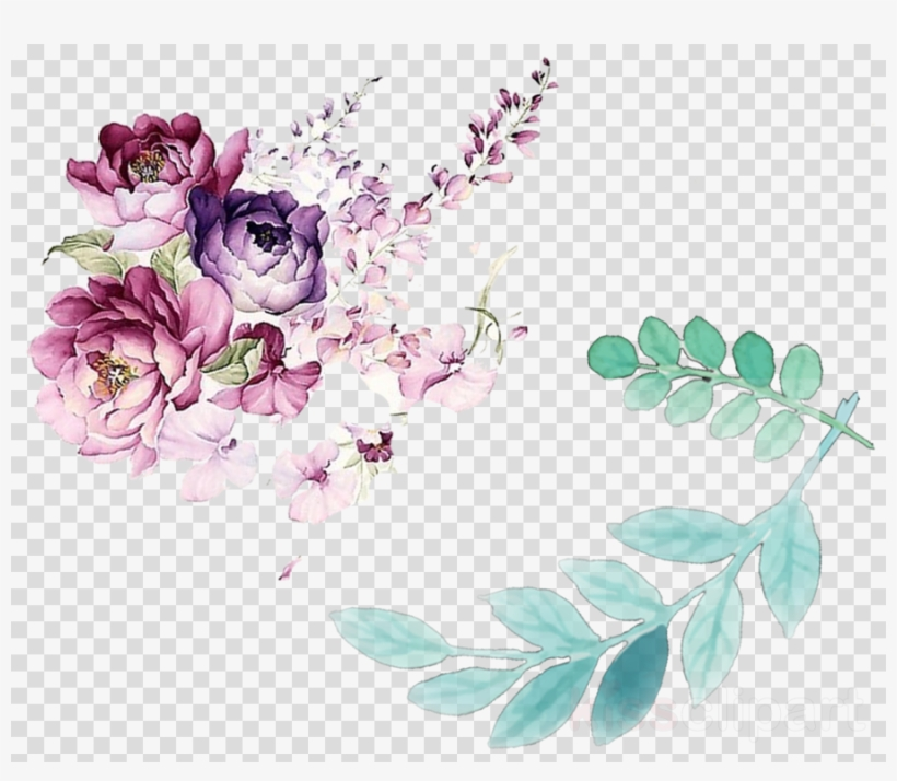 Lilac Flower Watercolor Png Clipart Watercolor - Leaves And Flowers Watercolor Png, transparent png #5632621