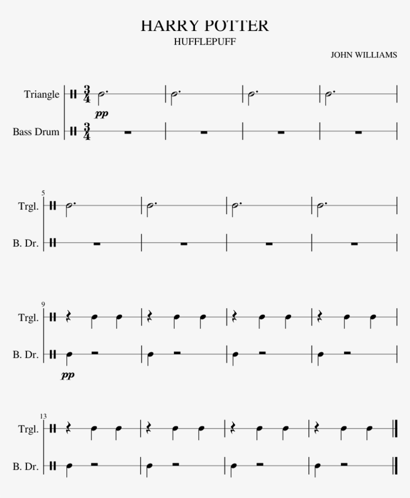 Harry Potter Hufflepuff Sheet Music For Percussion - Sheet Music, transparent png #5676814